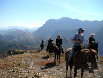 horseback ride through the mountains to our High Mountain Wilderness Camp